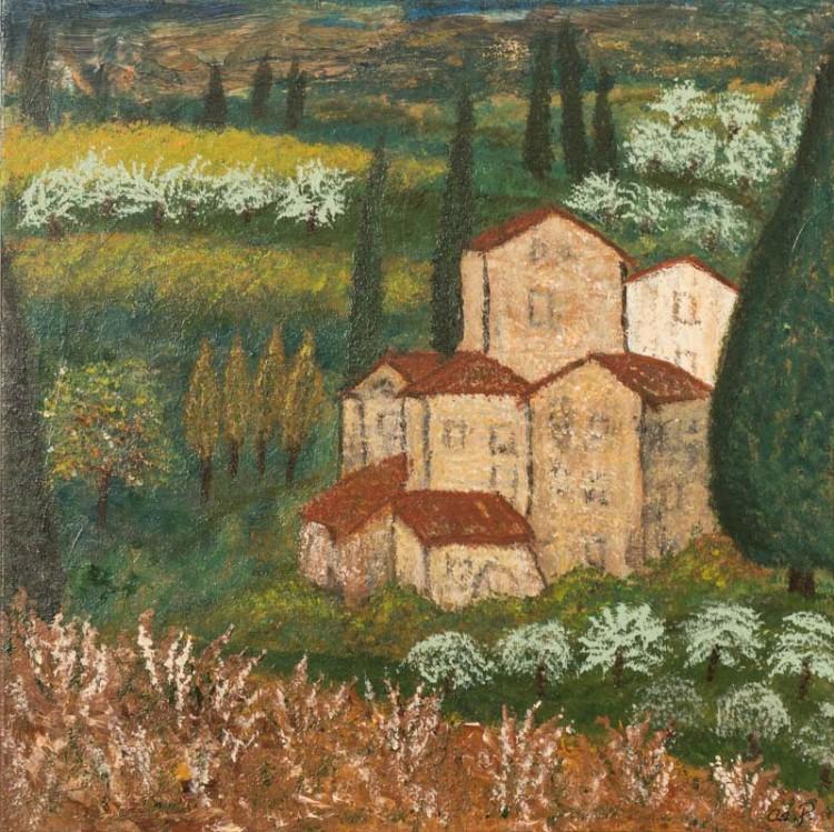 Landskab i Toscana 50x50